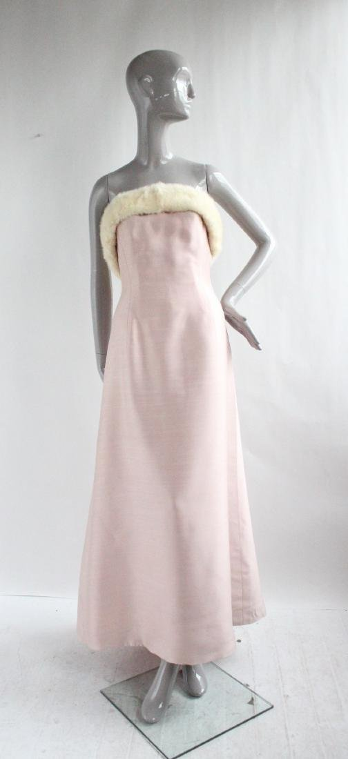 Lanvin Haute Couture Pink Silk & Fur Gown 1960's