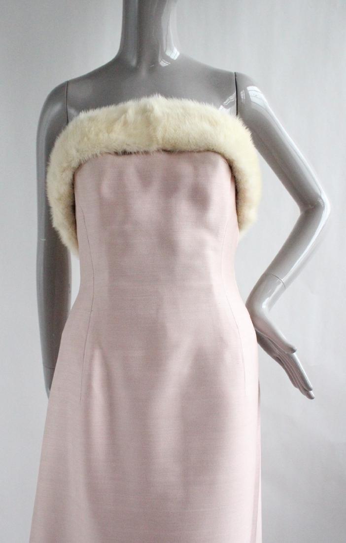 Lanvin Haute Couture Pink Silk & Fur Gown 1960's - 2