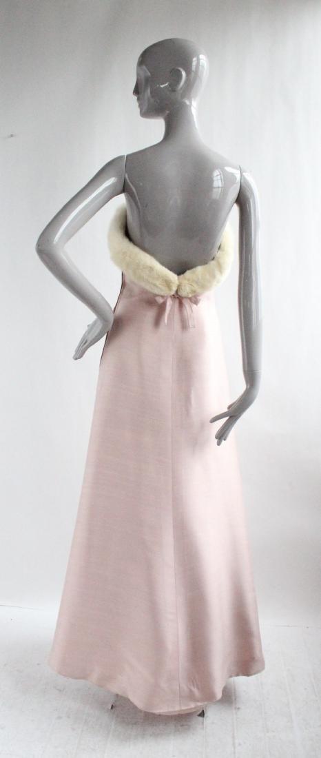 Lanvin Haute Couture Pink Silk & Fur Gown 1960's - 3