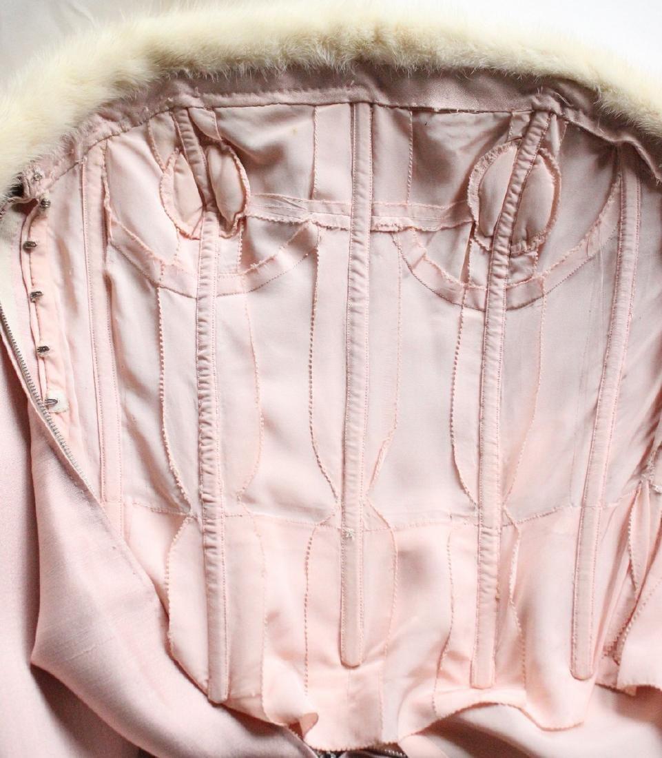 Lanvin Haute Couture Pink Silk & Fur Gown 1960's - 4