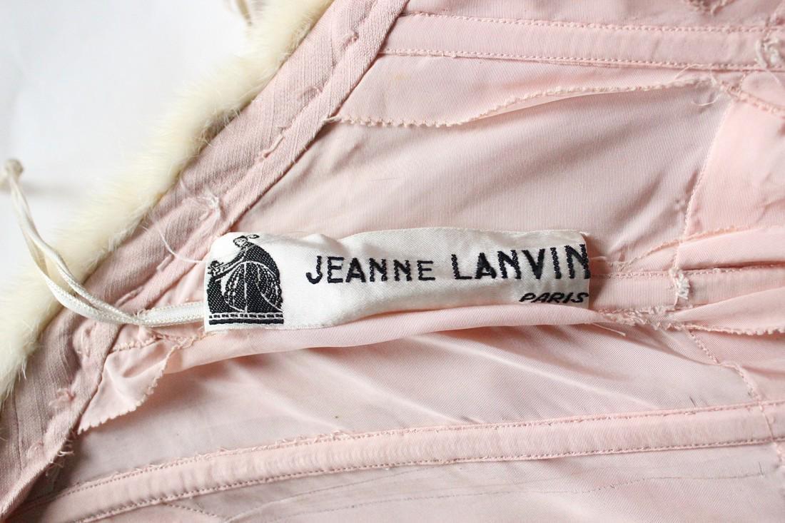 Lanvin Haute Couture Pink Silk & Fur Gown 1960's - 5