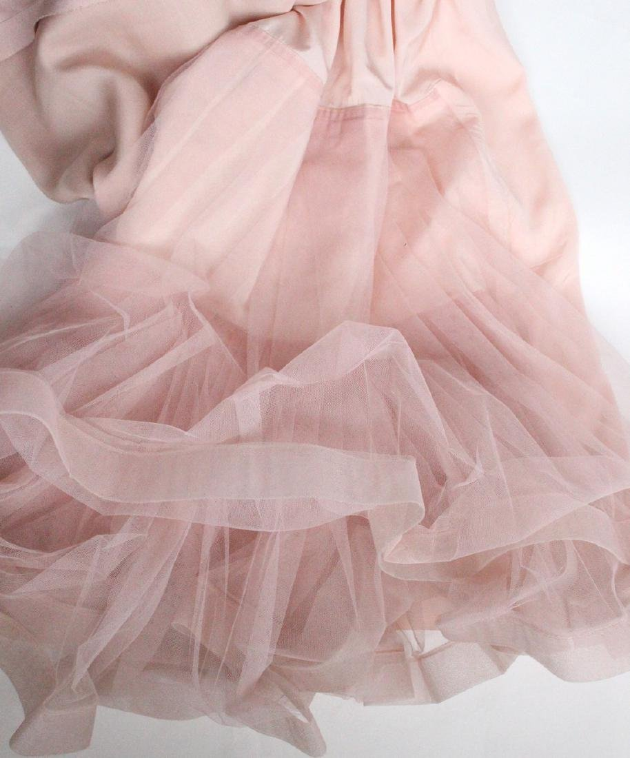 Lanvin Haute Couture Pink Silk & Fur Gown 1960's - 6