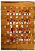 Handmade vintage Scandinavian flat-weave kilim 5.1' x