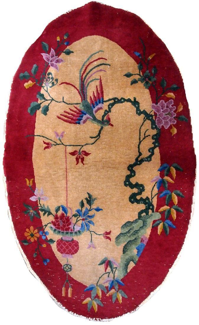 Handmade antique Art Deco Chinese rug 2.10' x 5' ( 89cm