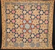 Rare 1830's Pieced Stars In Hexagons Quilt Glazed