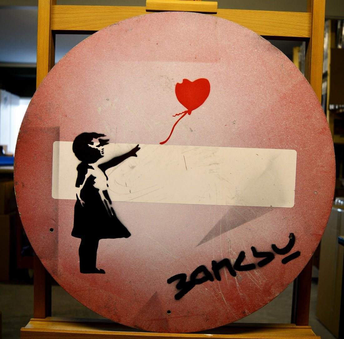 Banksy (attr. to)  Metal Road Sign