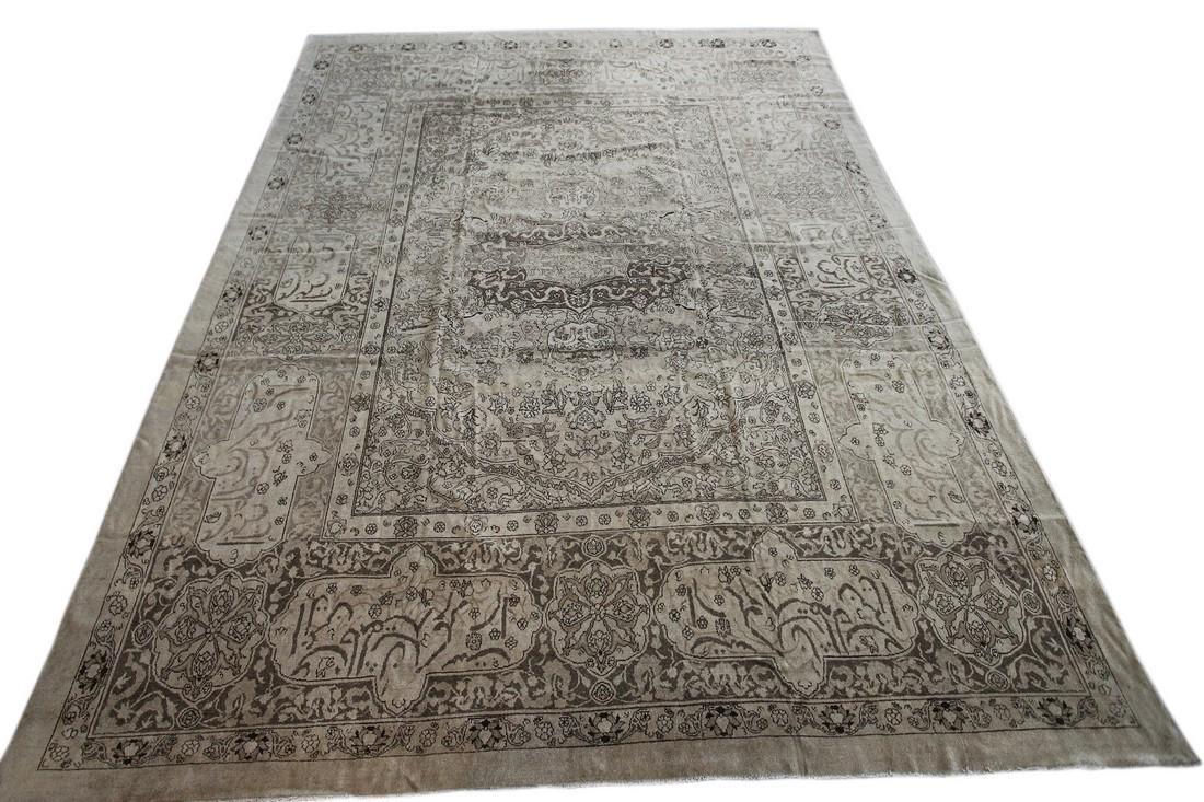 Antique Rare Agra Amritsar Rug Animal Design Poetry - 2