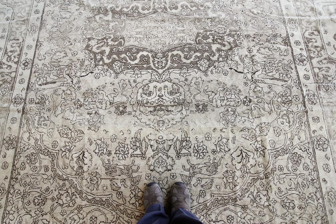 Antique Rare Agra Amritsar Rug Animal Design Poetry - 6