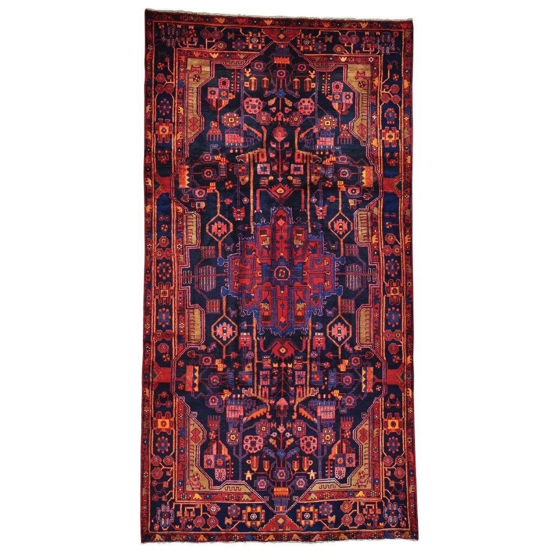 Navy Blue Hand Knotted Full Pile Persian Nahavand