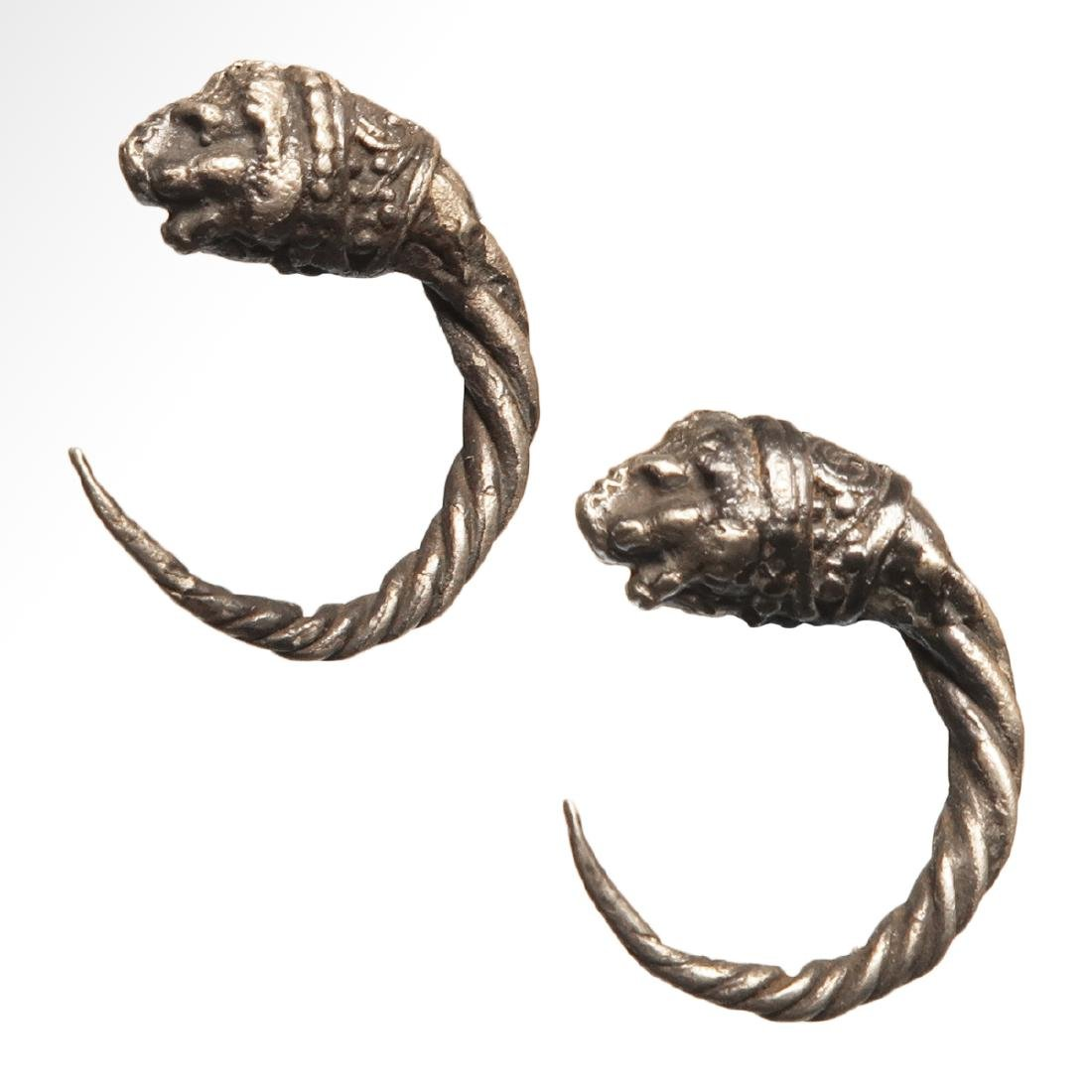 Pair of Greek Silver Earrings with Lion Heads