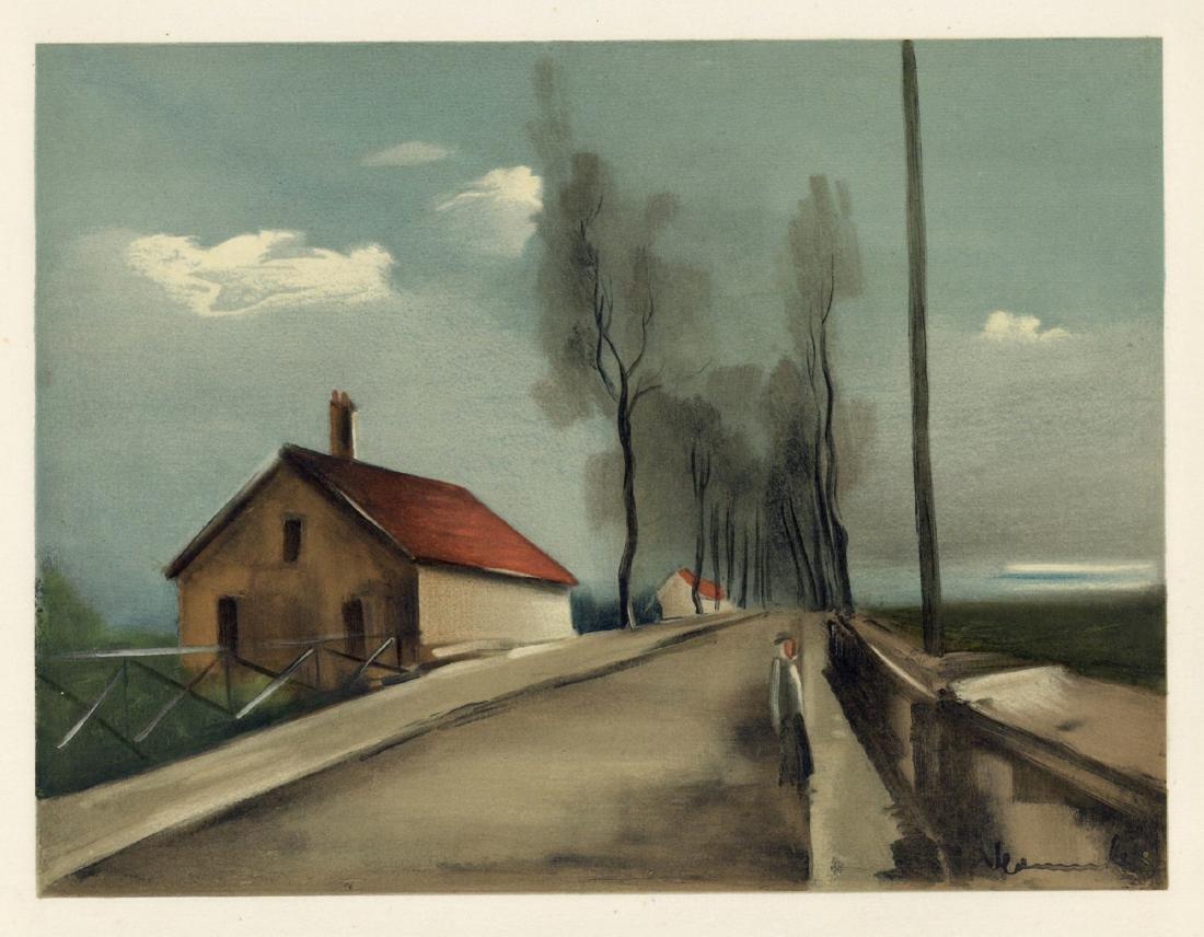 """Maurice de Vlaminck """"The Brezolles Road"""" lithograph"""
