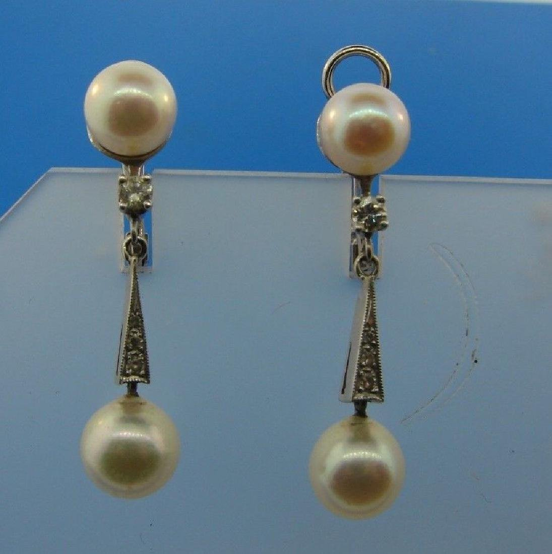 CHIC 14k White Gold, Cultured Pearl & Diamond Earrings
