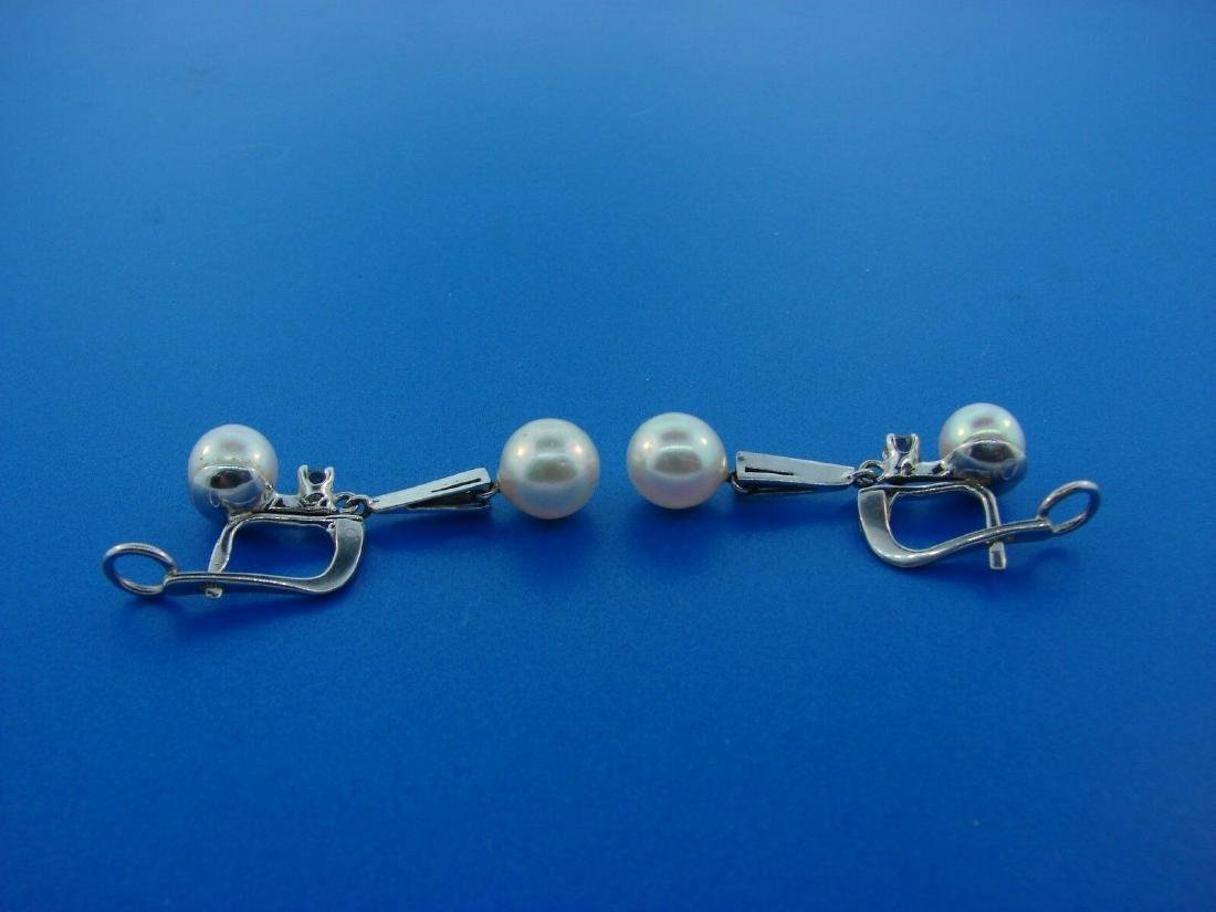 CHIC 14k White Gold, Cultured Pearl & Diamond Earrings - 3