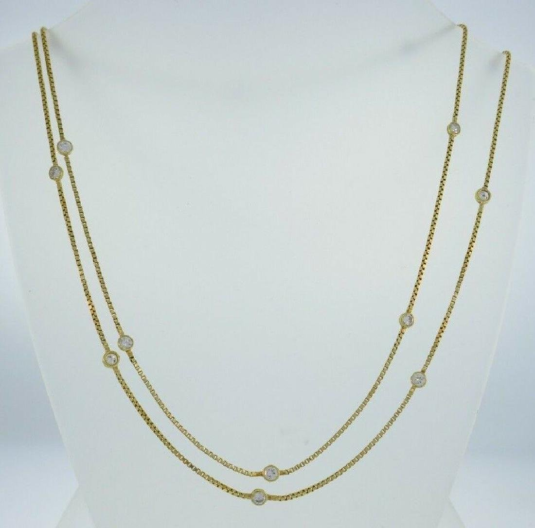 14k Yellow Gold White Sapphire Box Chain Necklace - 2
