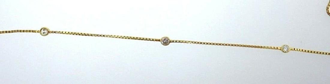14k Yellow Gold White Sapphire Box Chain Necklace - 5