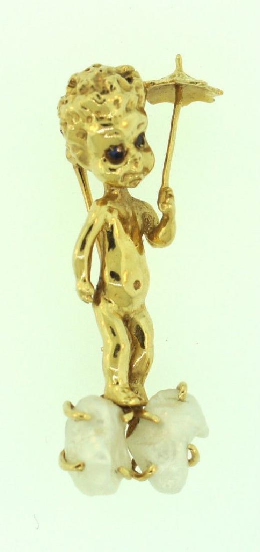 14K GOLD PEARL SAPPHIRE CHERUB PIN ANGEL THEMED - 2