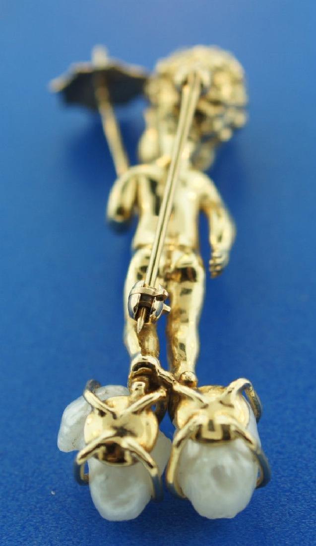 14K GOLD PEARL SAPPHIRE CHERUB PIN ANGEL THEMED - 3