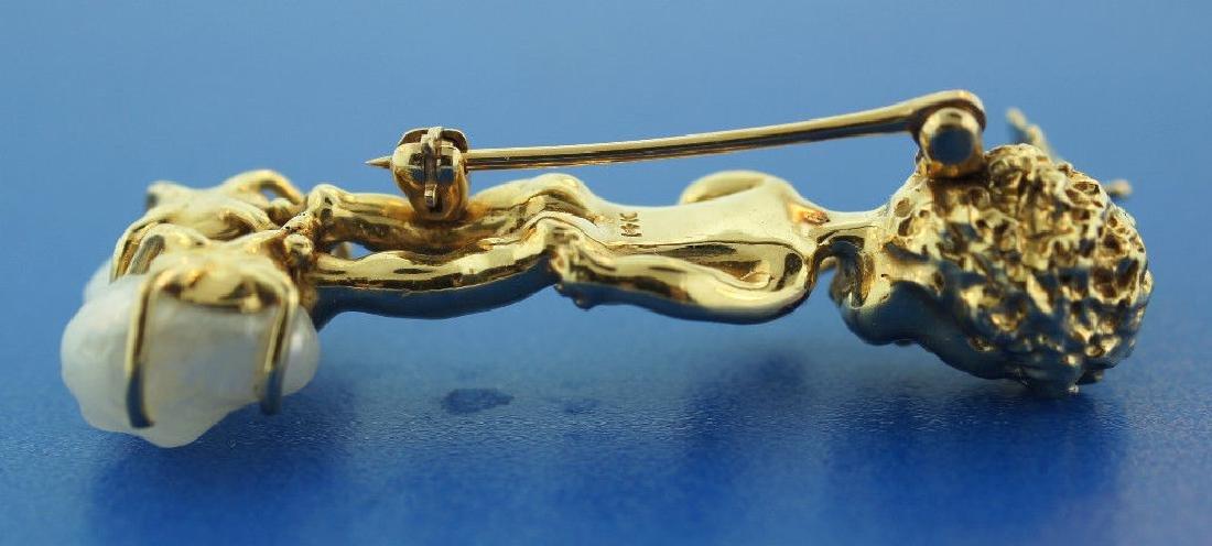 14K GOLD PEARL SAPPHIRE CHERUB PIN ANGEL THEMED - 4