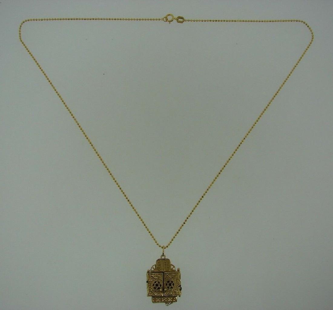 TIMELESS 14k Yellow Gold Mechanical Judaica Necklace - 2
