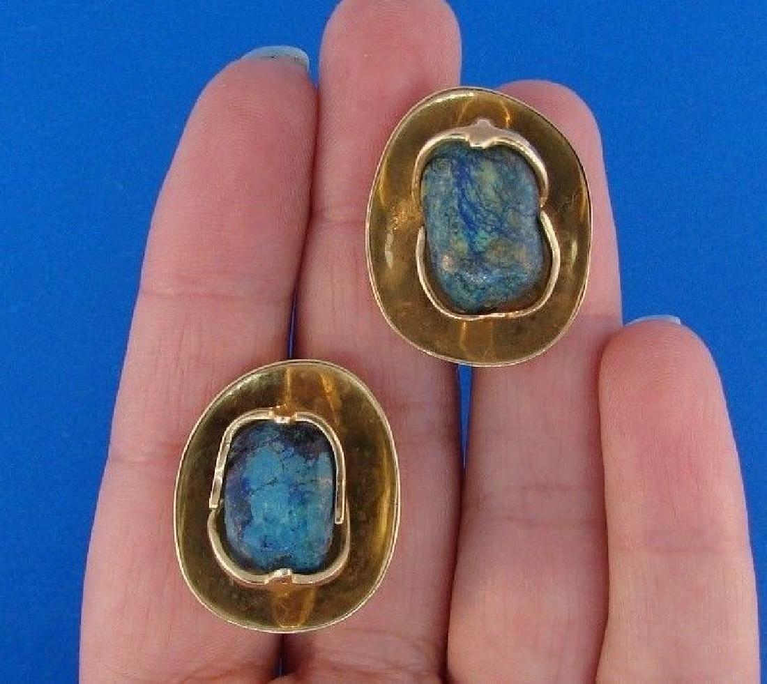 COOL GIRL 14k Yellow Gold & Arizona Turquoise Earrings