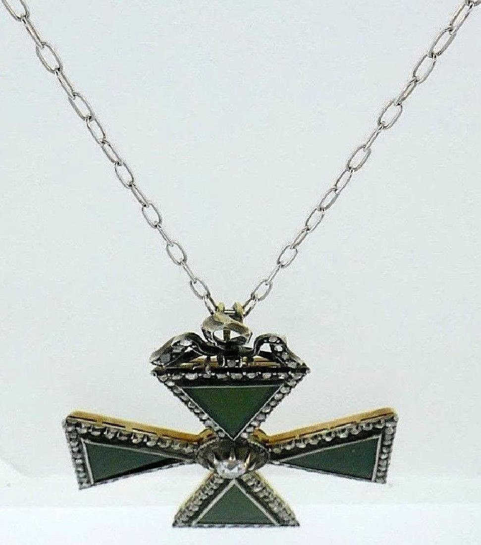 18k Yellow Gold Silver Onyx Diamond Maltese Cross - 3