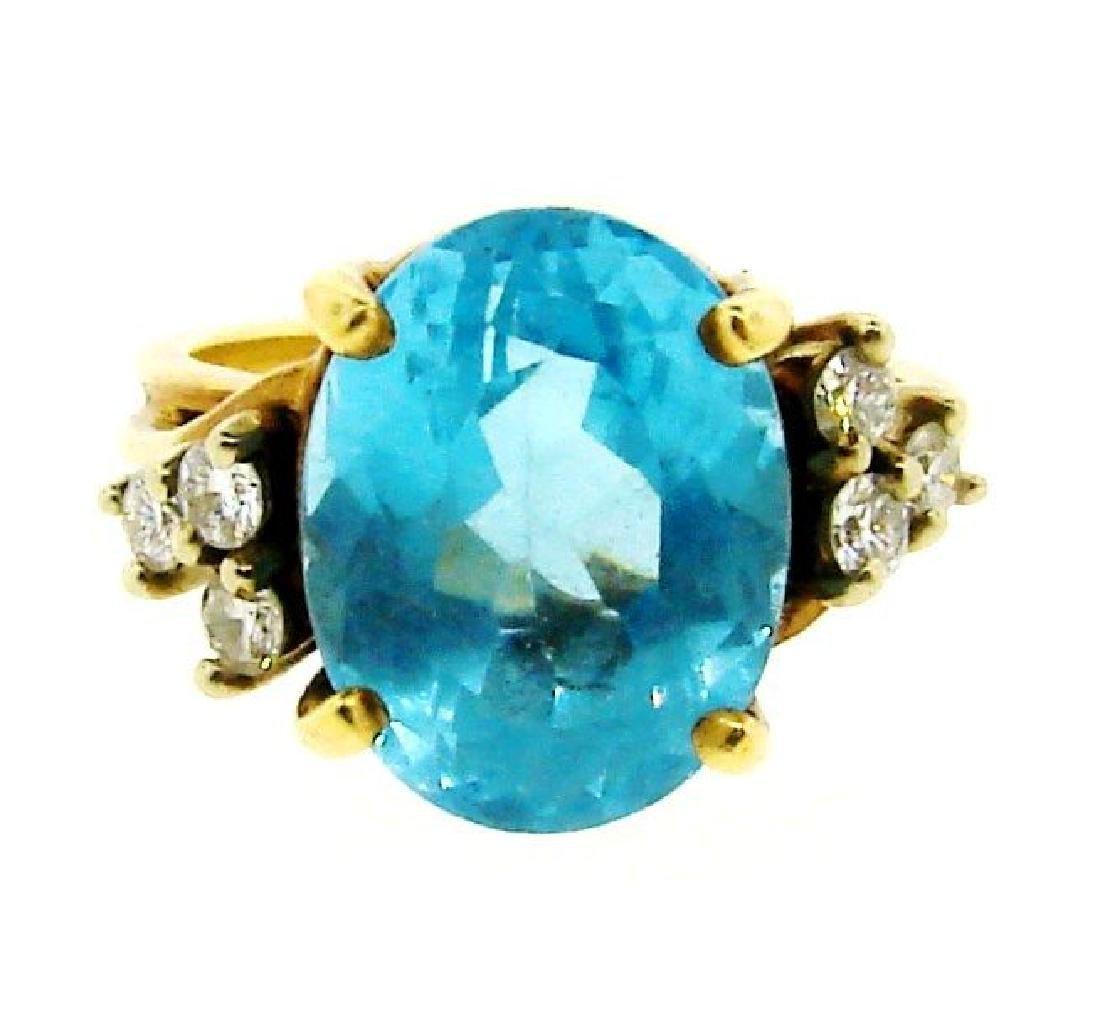 STUNNING 14k Yellow Gold, Blue Topaz & Diamond Ring