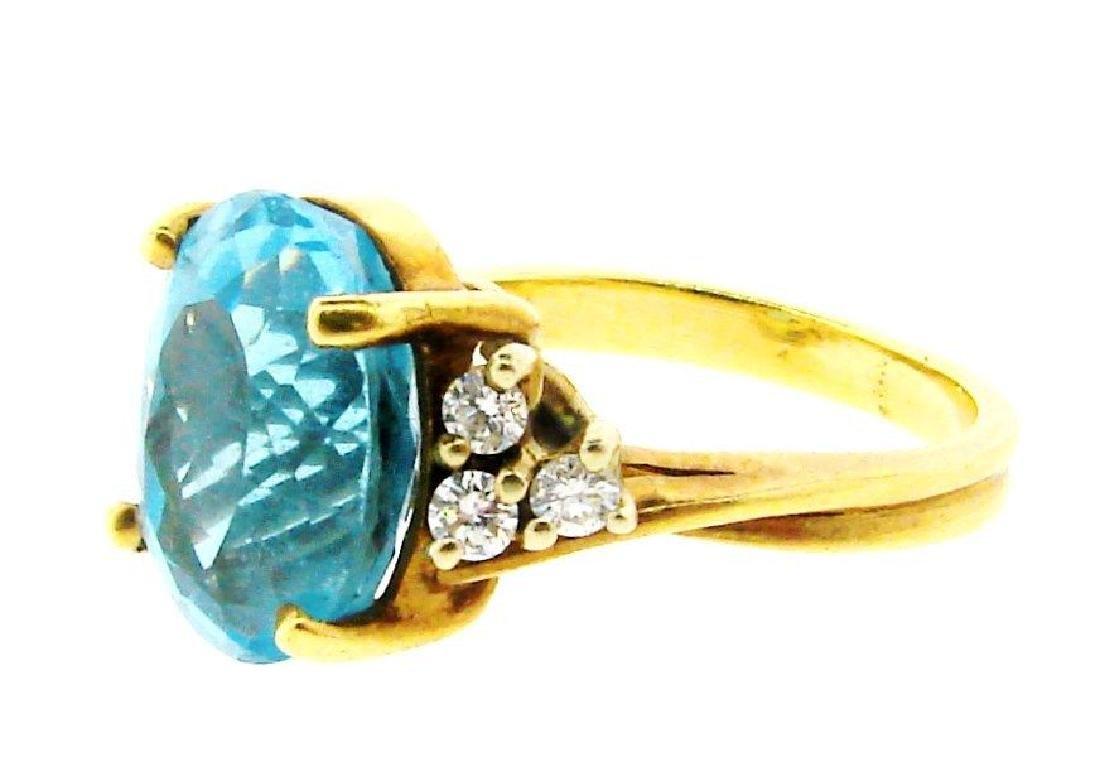 STUNNING 14k Yellow Gold, Blue Topaz & Diamond Ring - 2