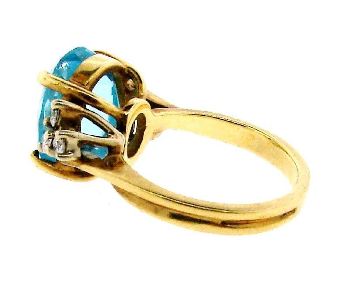 STUNNING 14k Yellow Gold, Blue Topaz & Diamond Ring - 3