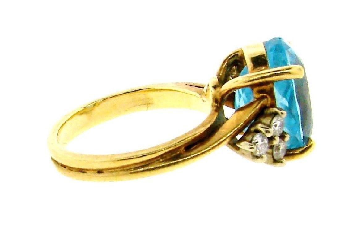 STUNNING 14k Yellow Gold, Blue Topaz & Diamond Ring - 4