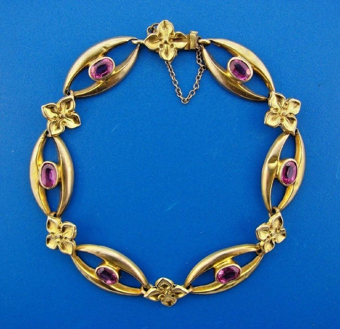 GORGEOUS British 9k Yellow Gold & Pink Sapphire