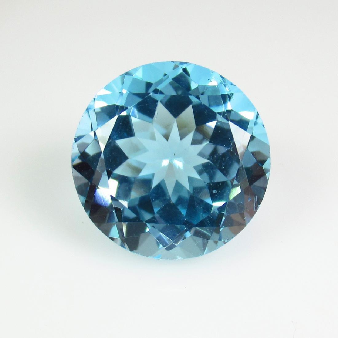 12.95 Ct Genuine Brazil Blue Topaz 14 mm Round Cut