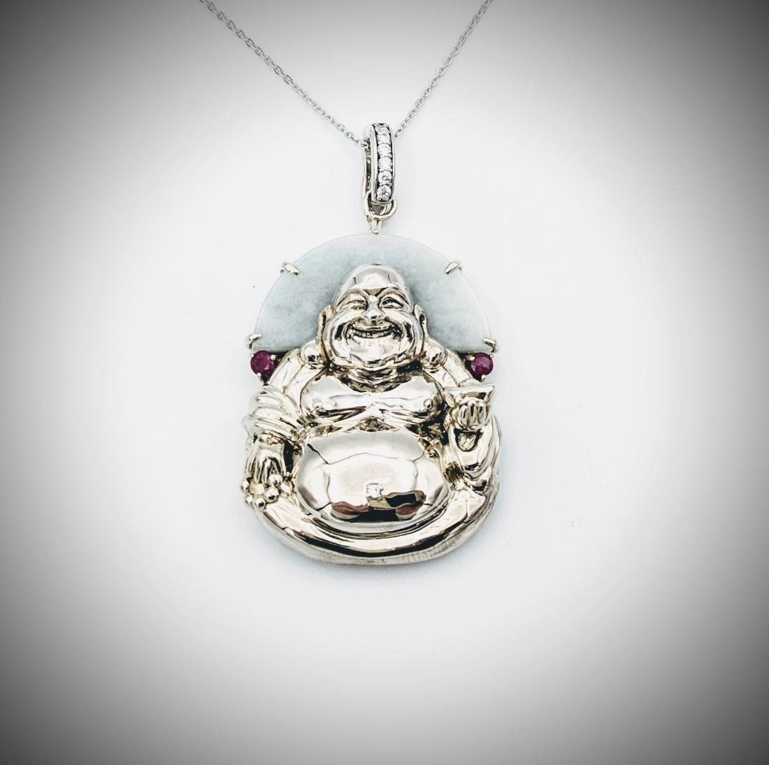 Necklace & Buddha Pendant w Jade, Raw Rubies & CZ