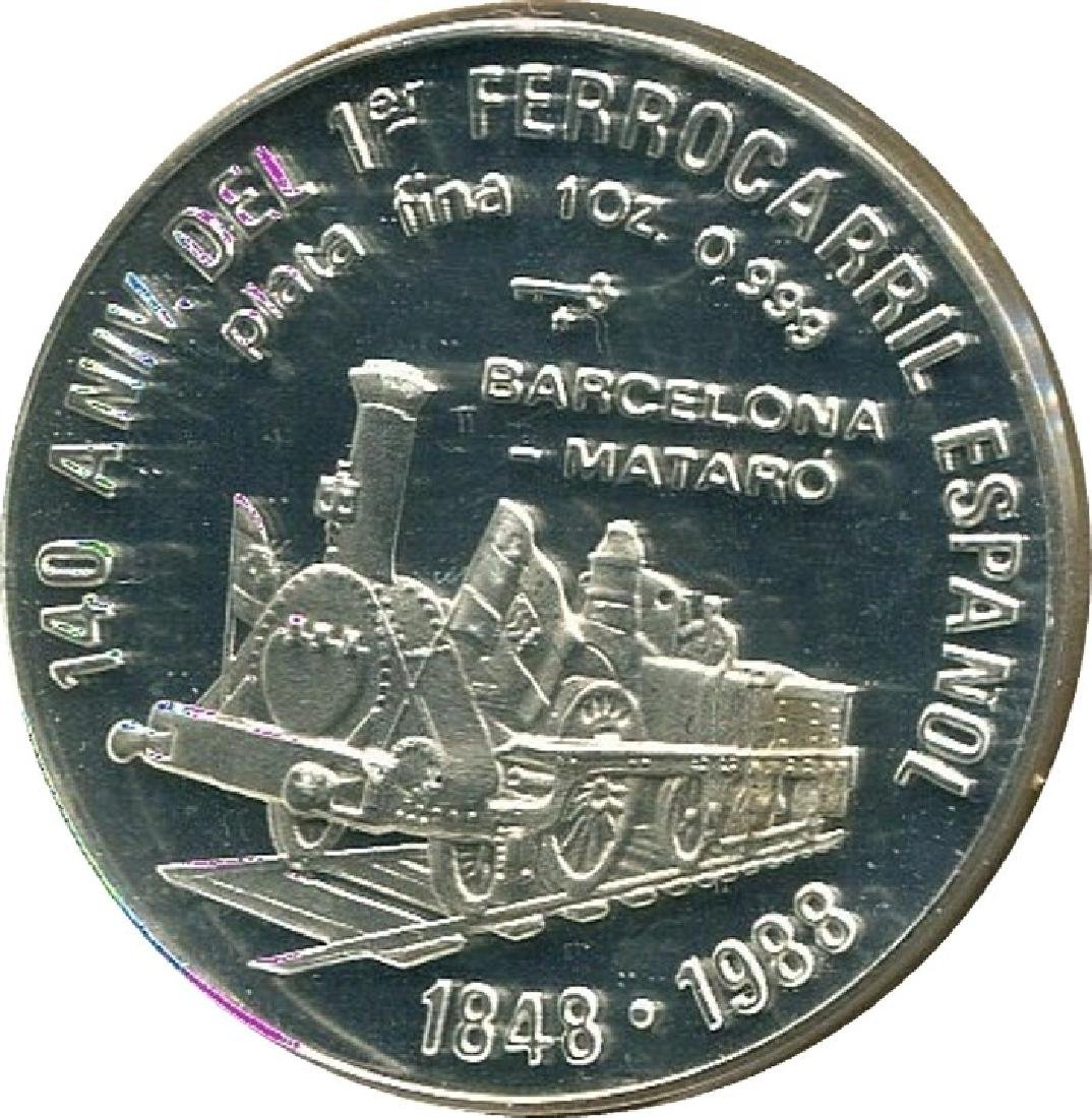 Cuba 10 Pesos 1988 First Railroad In Spain 1 Oz Proof
