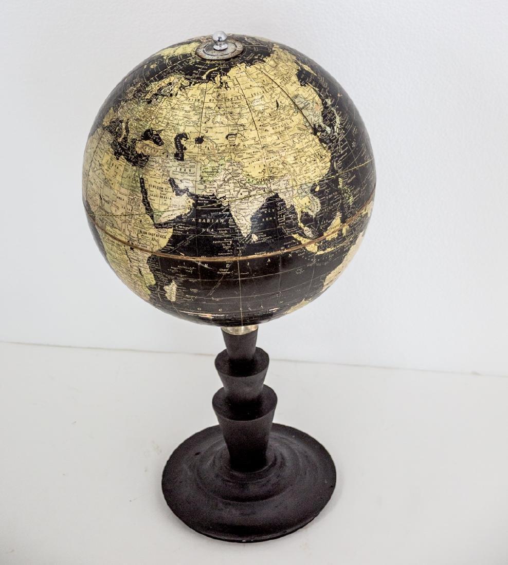 "10"" TERRESTRIAL ANTIQUE TABLE BLACK OCEAN GLOBE 1930 - 2"
