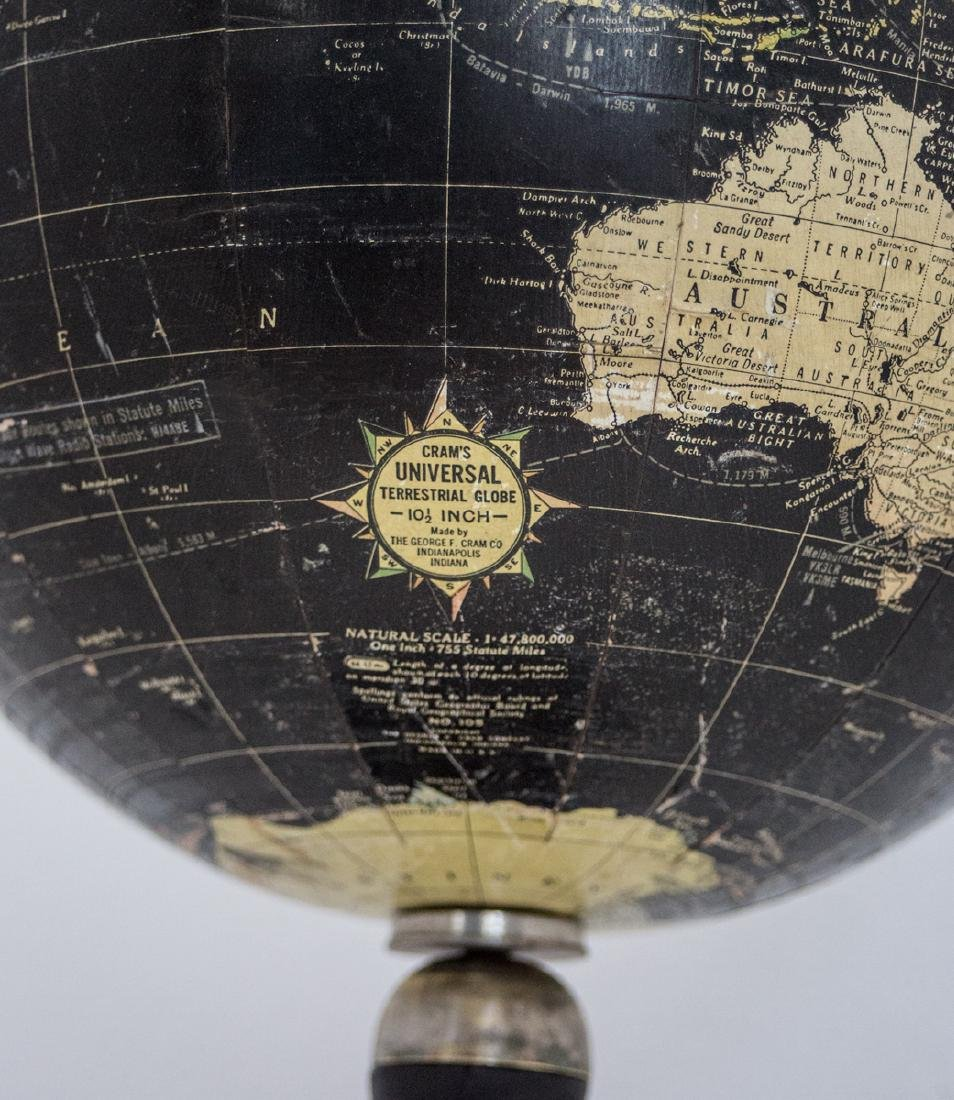 "10"" TERRESTRIAL ANTIQUE TABLE BLACK OCEAN GLOBE 1930 - 4"