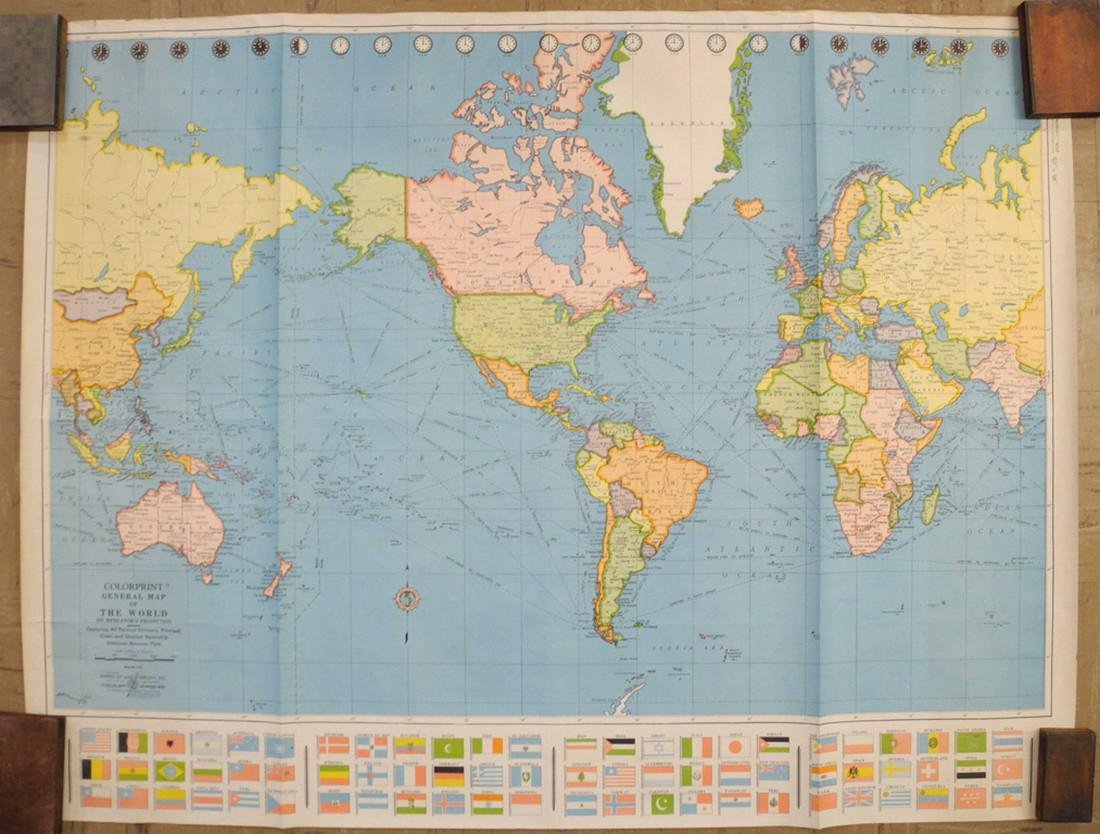 Colorprint General Map of the World On Mercator's