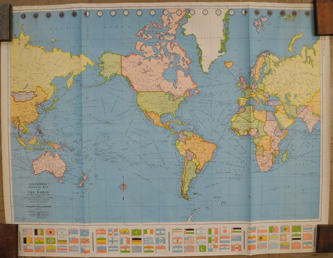 Colorprint General Map of the World On Mercator's - 2