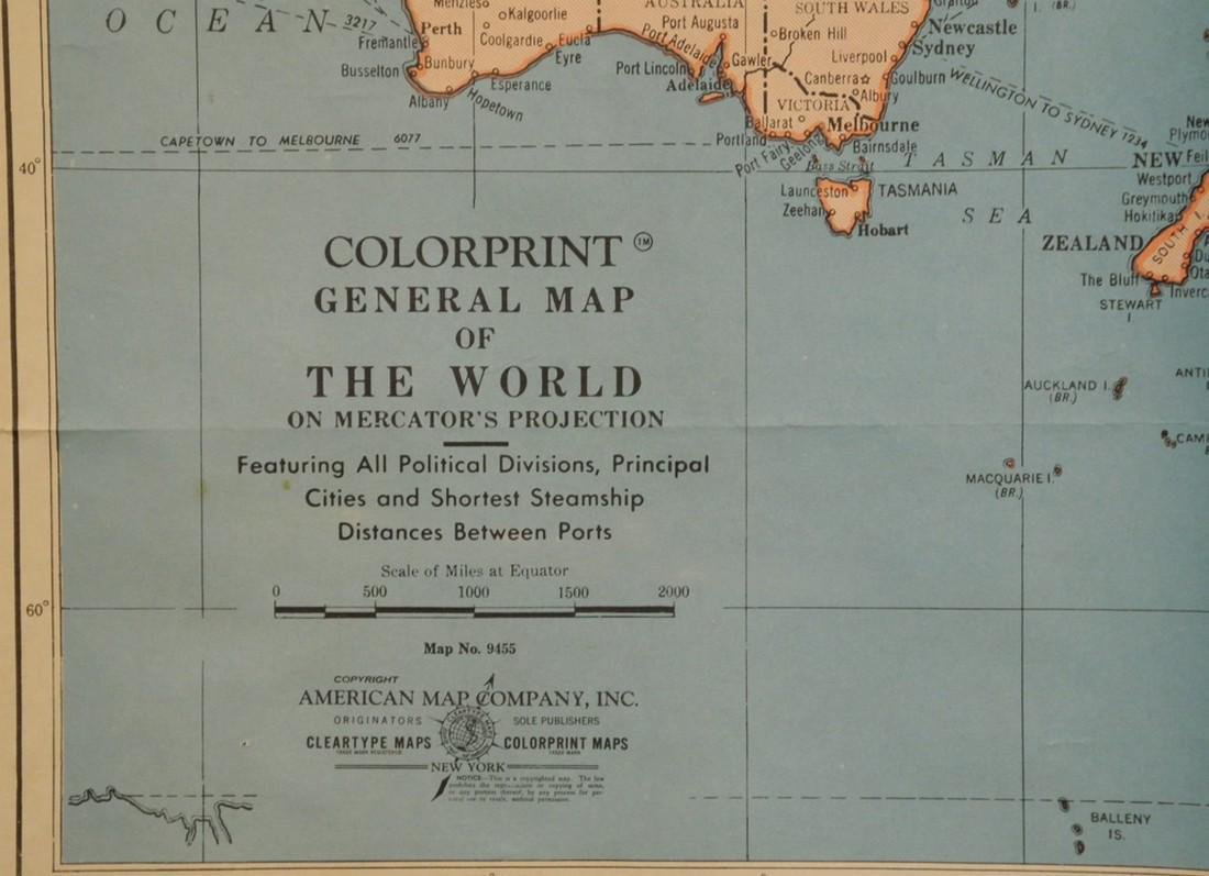 Colorprint General Map of the World On Mercator's - 3