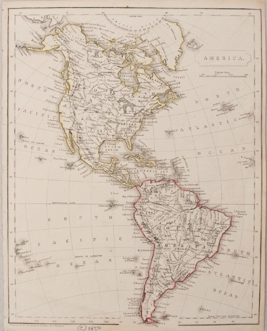 1850 c. Becker map of North and South America --