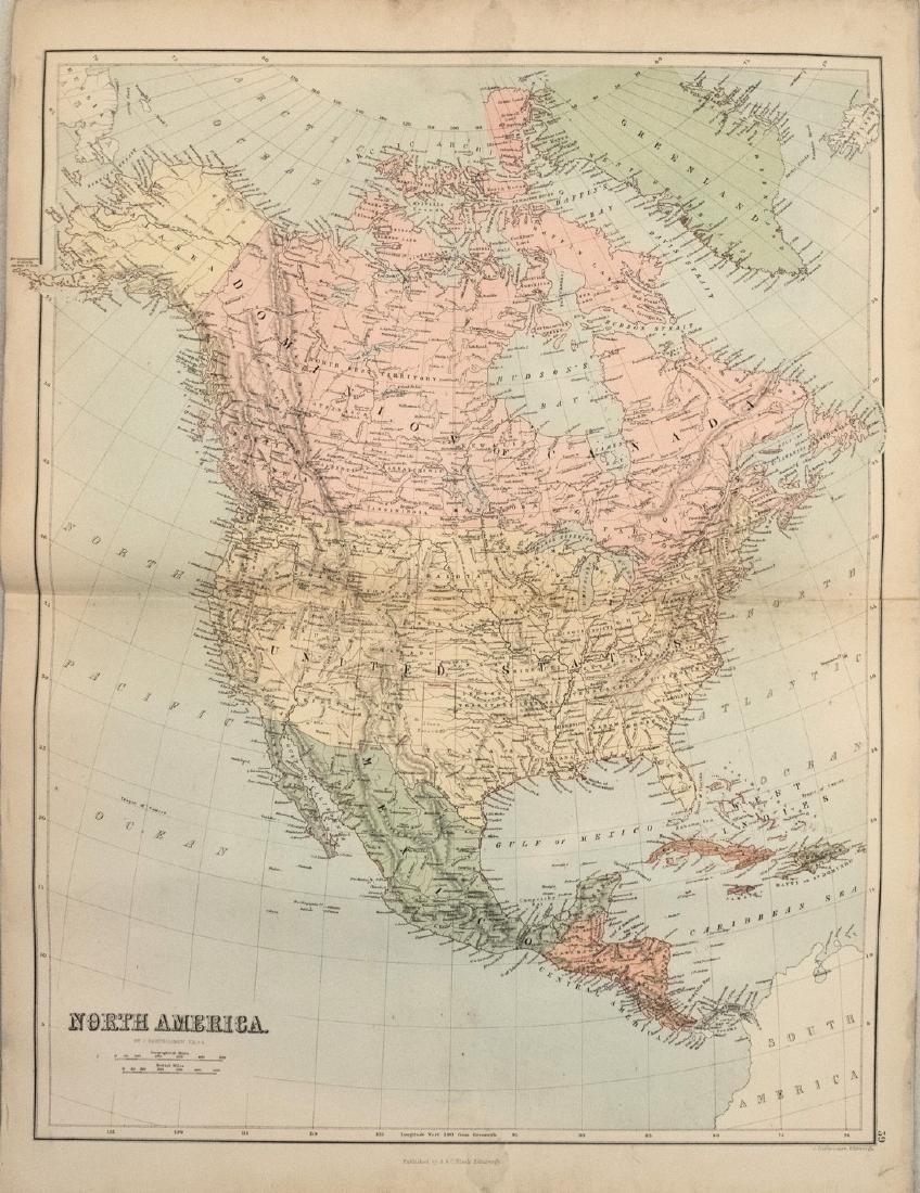 1884 Bartholomew Map of North America -- North America