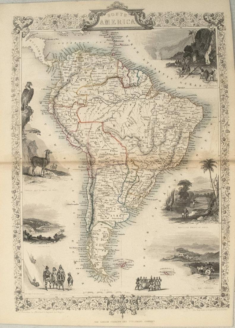 1850 Tallis Map of South America -- South America