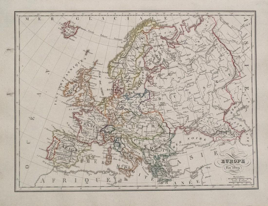 1829 Malte-Brun Map of Europe in 1829 -- Europe en 1829
