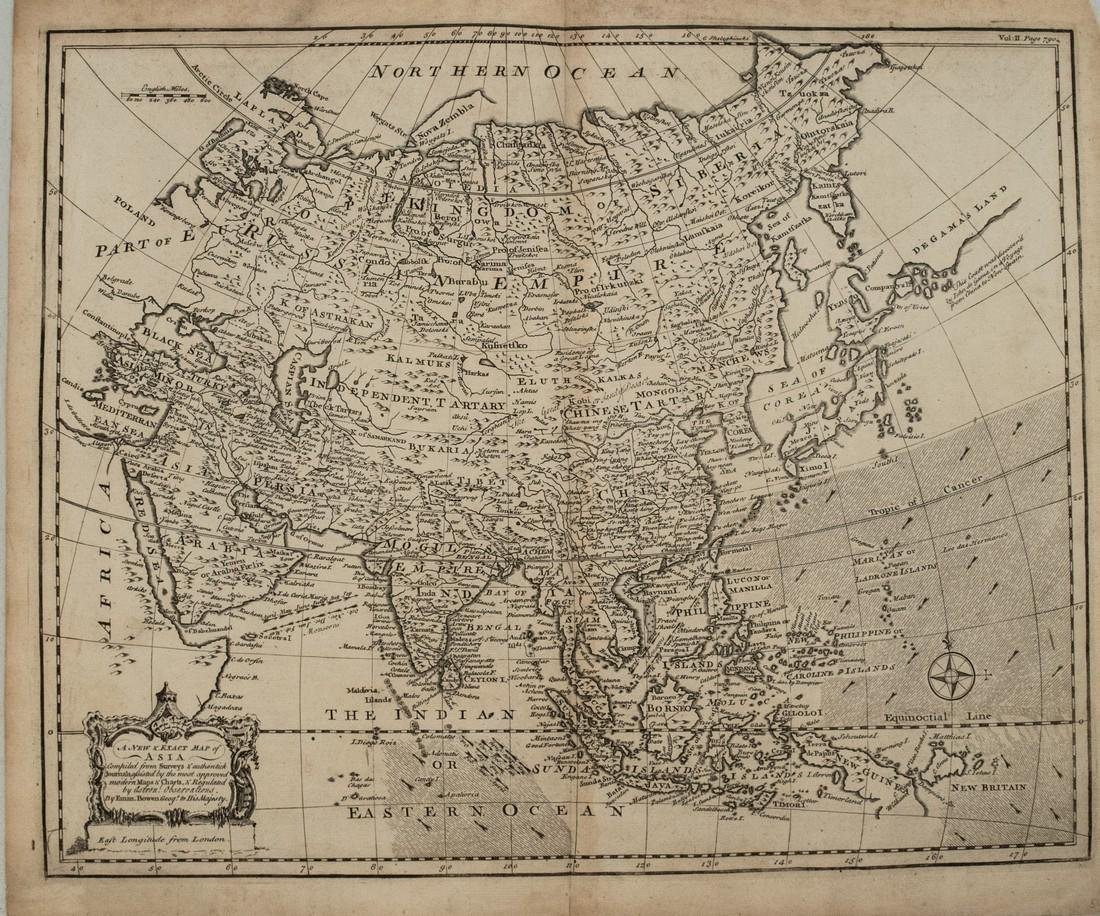 1744 Bowen Map of Asia -- A New & Exact Map of Asia