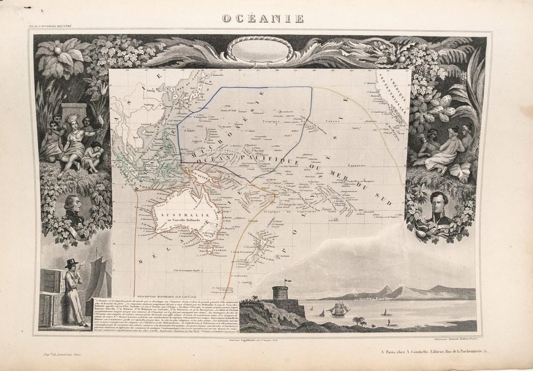 1852 Levasseur Map of Oceania -- Oceanie