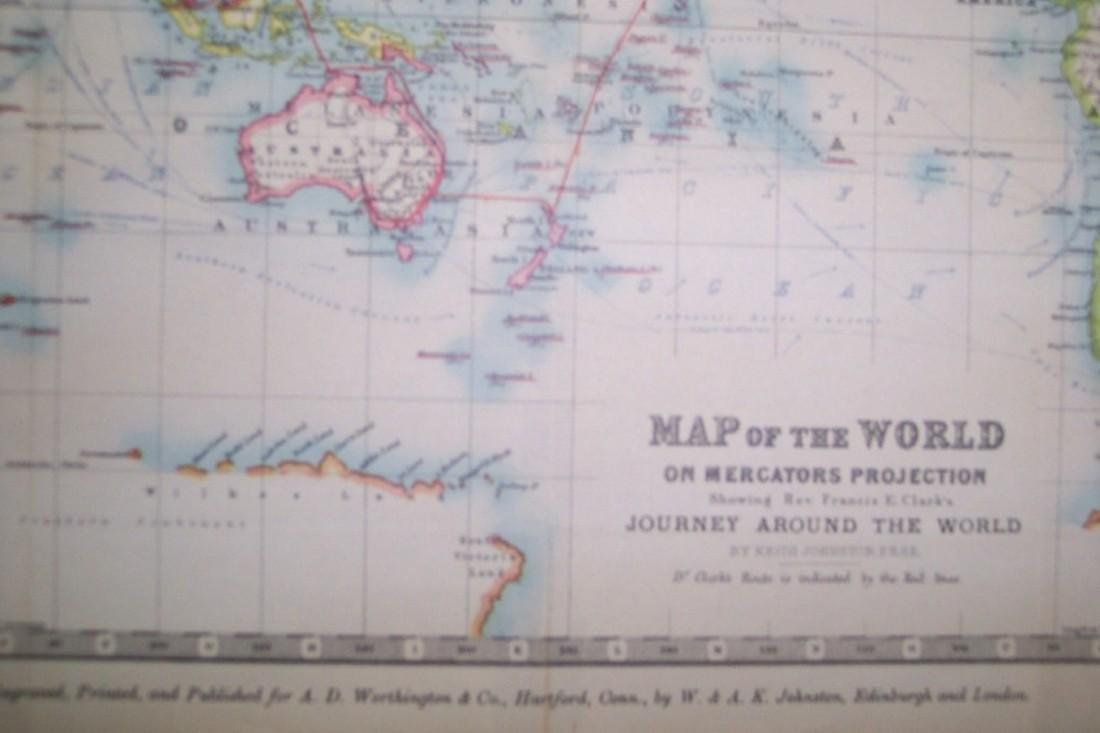 Map of the World On Mercator's Projection - 2