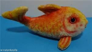"""1970's STEIFF FISH FLOSSY GOLD YELLOW TAG 11"""" 28CM"""