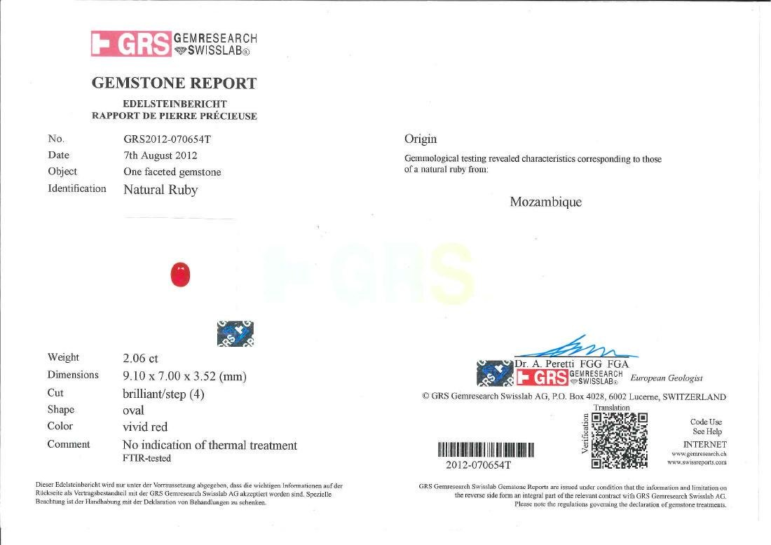GRS Certified 2.06 Carat Oval Shaped Unheated VVS - 7