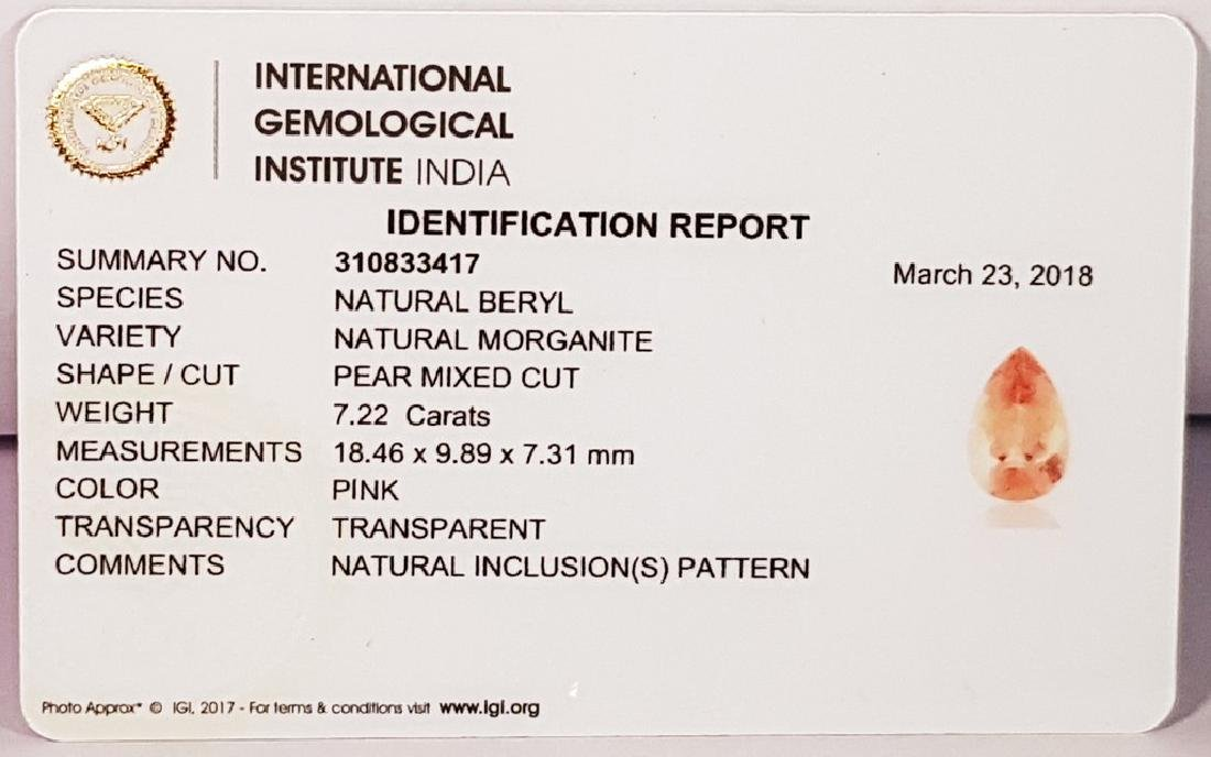 """7.22 ct """"IGI Certified"""" Excellent Pink Pear Cut Natural - 4"""