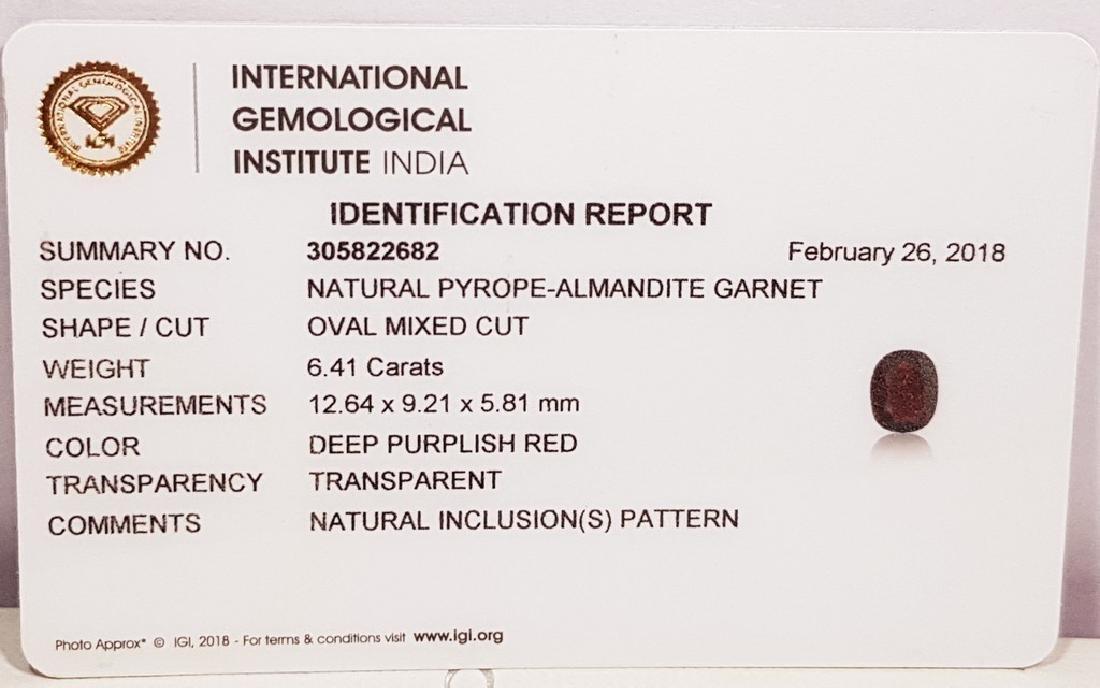 "6.41 Ct "" IGI Certified "" Natural Pyrope-Almandite - 8"