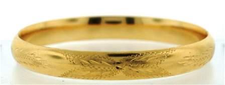 14K YELLOW GOLD STAMPED BANGLE BRACELET ITALY HALLMARKS
